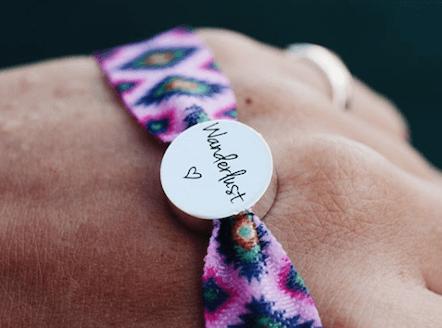 personalised pink aztec stretch bead bracelet
