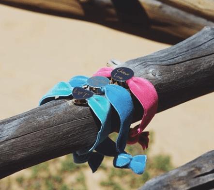 personalised flamingo velvet stretch bead bracelet
