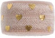 Tea Rose & gold heart band