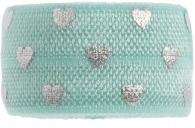 Soft Mint & Silver hearts band