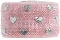 Soft pink & silver hearts band