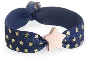 navy and gold star bracelet with personalised rose gold star charm