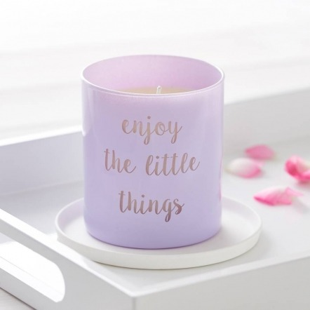 lilac quote candle