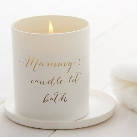 personalised candle lit bath candle