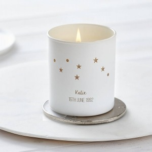 personalised constellation candle with stars and names