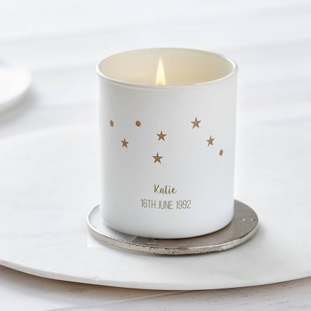 personalised candle with stars