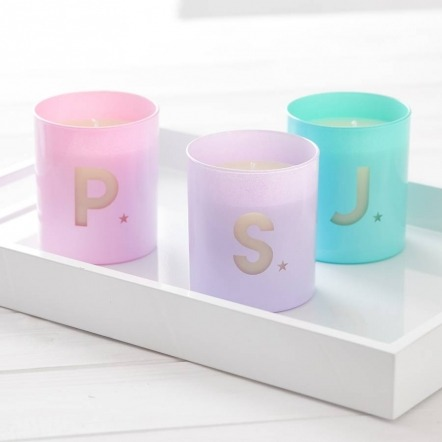 coloured initial candles