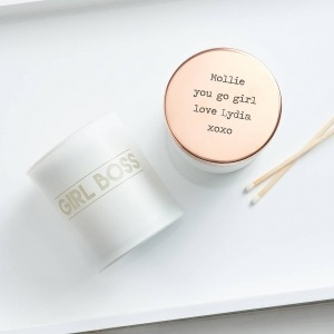 white candle with girl gang quote and personalised rose gold lid