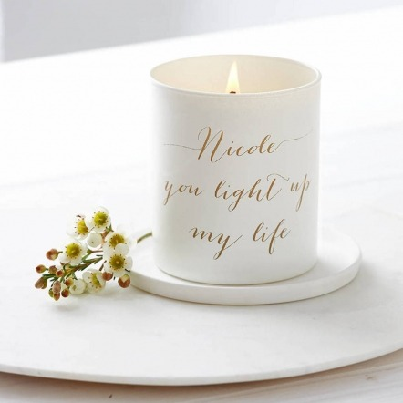 white personalised message candle