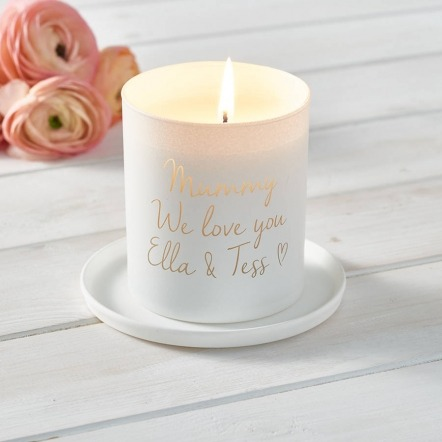 white personalised candle for mum