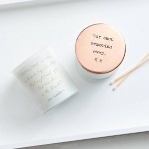 personalised memory candle with rose gold lid