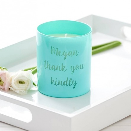 personalised turquoise message candle