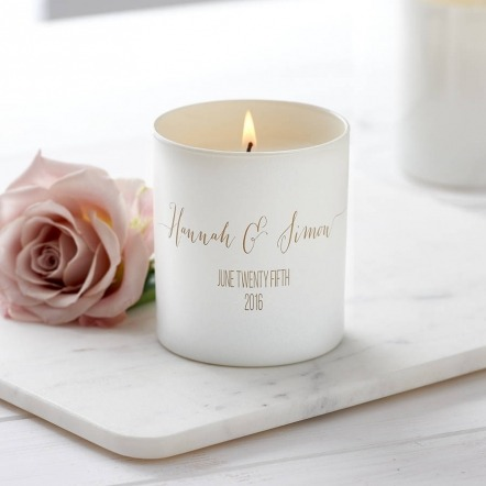 personalised white wedding scented candle