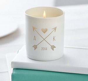personalised white love candle with arrow and initials