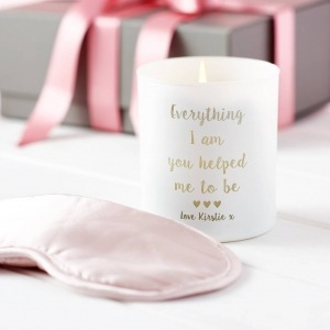 white personalised candle with pink silk eye mask set