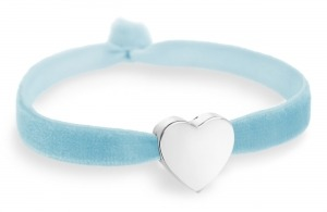 baby blue bracelet with silver heart bead