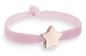 powder pink bracelet with rose gold star bead