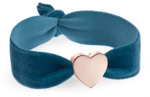 girls personalised vintage teal velvet bracelet with rose gold heart bead