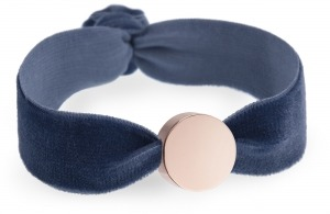 girls personalised storm blue velvet bracelet with rose gold circle bead