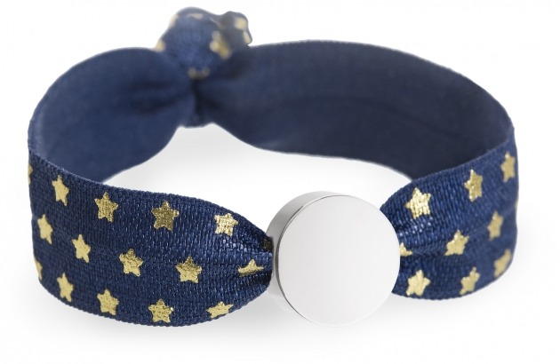 personalised navy and gold stars bracelet with silver circle charm