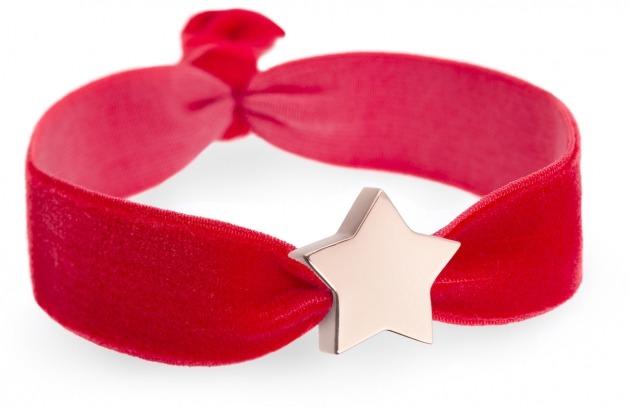girls personalised red velvet bracelet with rose gold star bead