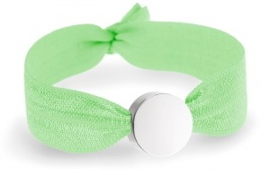 girls personalised neon green bracelet with silver circle bead