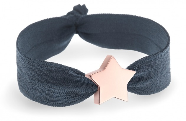 girls personalised charcoal grey bracelet with rose gold star bead