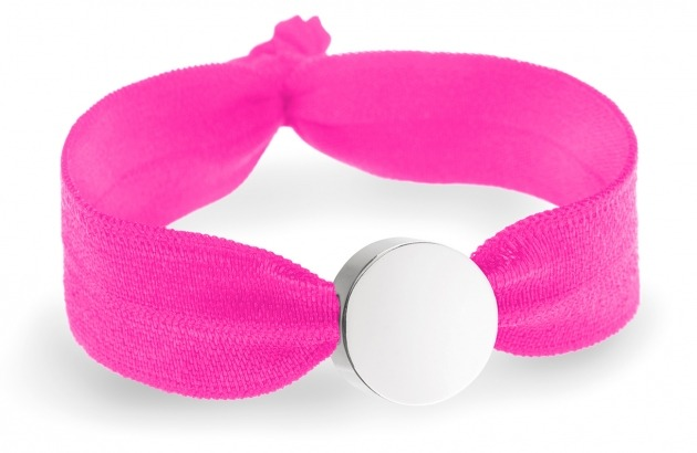girls personalised neon pink bracelet with silver circle bead