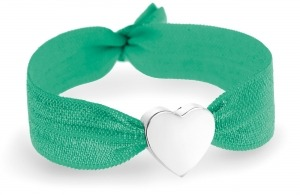 girls personalised spring green bracelet with silver heart bead