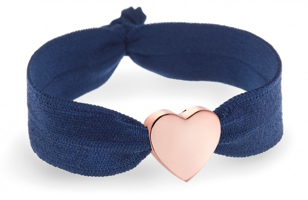 Girls personalised navy blue bracelet with rose gold heart bead