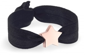 girls personalised black bracelet with rose gold star bead
