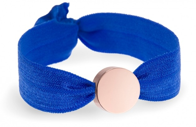 girls personalised cobalt blue bracelet with rose gold circle bead