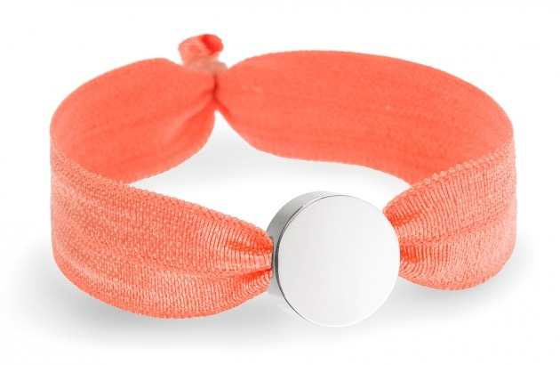 girls personalised neon orange bracelet with silver circle bead