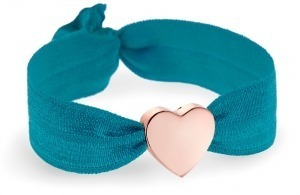 girls personalised teal bracelet with rose gold heart bead