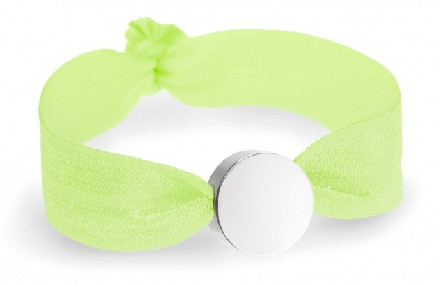 girls personalised neon yellow bracelet with silver circle bead
