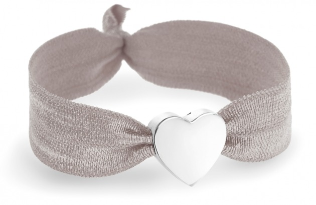 girls personalised soft grey bracelet with silver heart bead