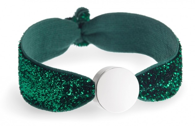 girls personalised emerald glitter bracelet with silver circle bead