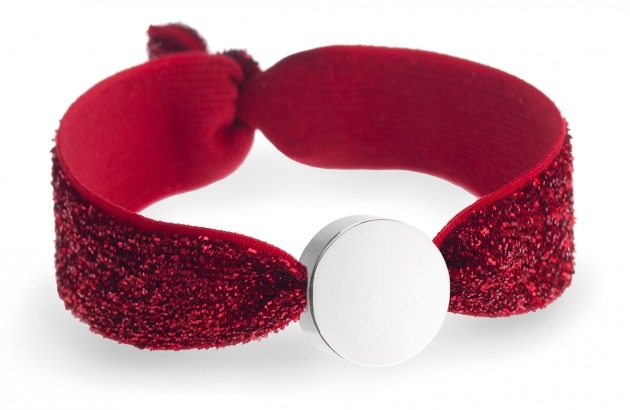 girls personalised ruby glitter bracelet with silver circle bead