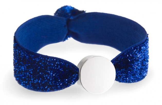 girls personalised sapphire glitter bracelet with silver circle bead