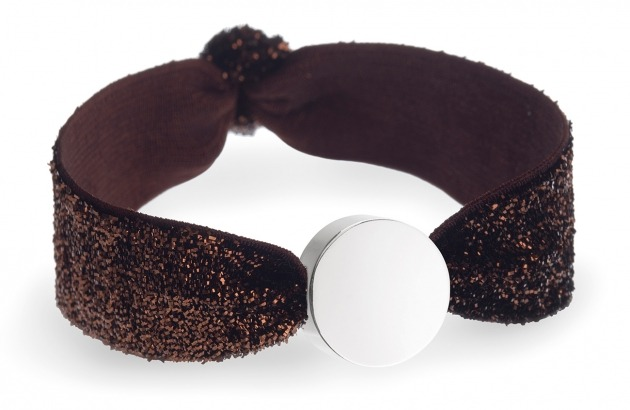girls personalised chocolate glitter bracelet with silver circle bead