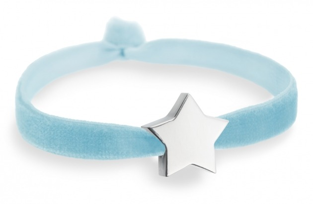 baby blue bracelet with silver star bead