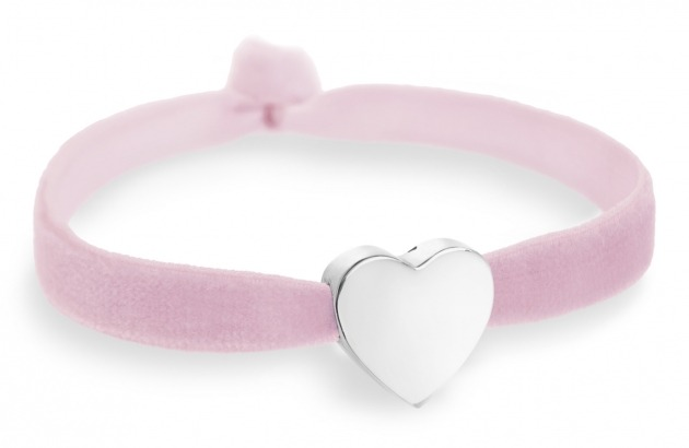 powder pink bracelet with silver heart bead